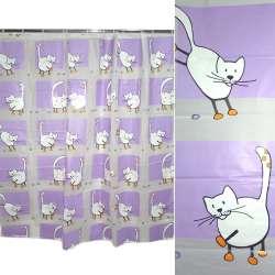 штора д / ванної кімнати бузково-біла з котами, 178х183