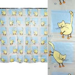 штора д / ванної кімнати біло-блакитна з котами, 178х183