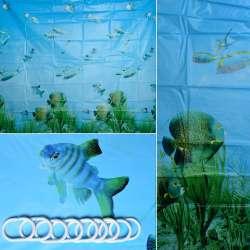 Шторка для ванної водний світ 178х183 см блакитна