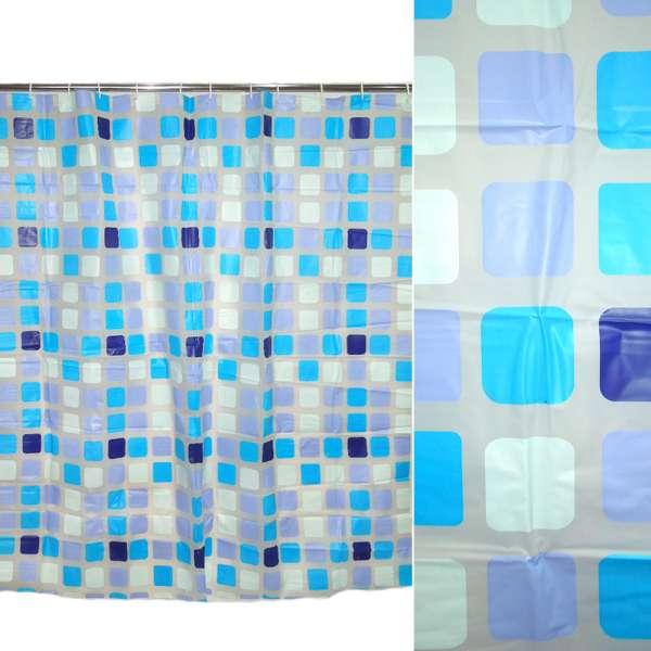 штора д/ванной комнаты белая с разноцв.квадратами, 178х183