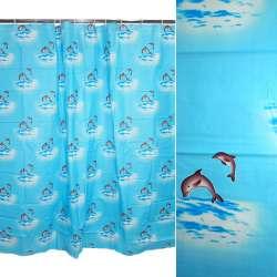 штора д / ванної кімнати мор. хвилі з дельфінами, 178х183