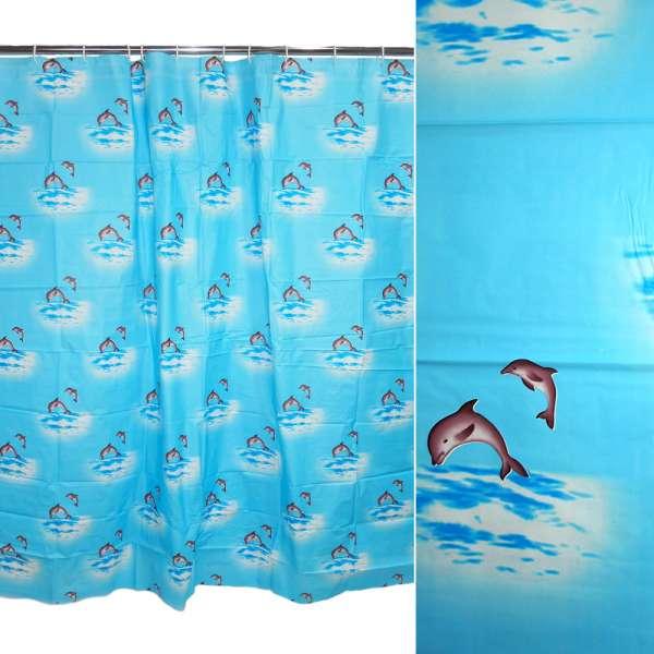 штора д/ванной комнаты мор. волны с дельфинами, 178х183