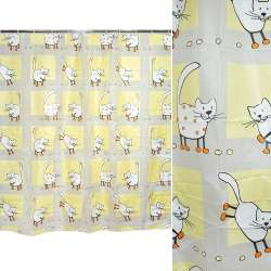 штора д / ванної кімнати жовто-біла з котами, 178х183