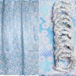 Шторка для ванної атласна з ромашками 178х183 см біло-блакитна