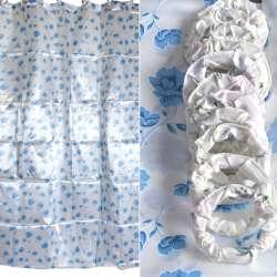 Шторка для ванної атласна з квітами 178х183 см біло-блакитна