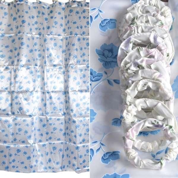 Шторка для ванной атласная с цветами 178х183 см бело-голубая