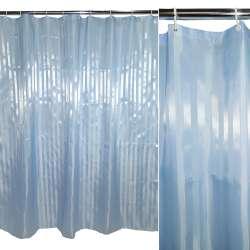 Шторка для ванної жаккардовая смужка 180х180 см блакитна