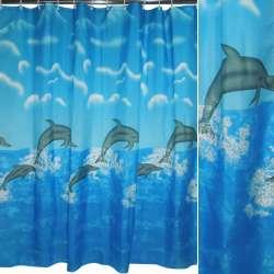 штора д / ванної кімнати блакитна з дельфінами, 178х183