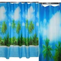 штора д / ванної кімнати блакитна з пальмами, 178х183