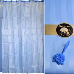 Шторка для ванної жаккардовая смужка 178х183 см блакитна