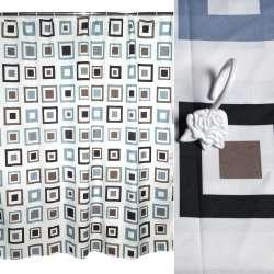 Шторка для ванной квадратами 178х183 см бежевые черные серые