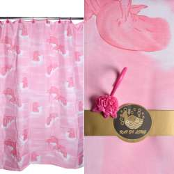 Шторка для ванної з дельфінами 178х183 см рожева
