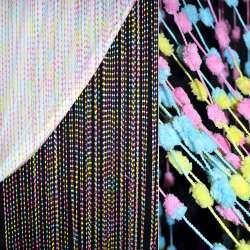 Штора ниточная с помпонами 250х280 см розово-желто-голубая (вес 0,532 кг)