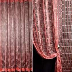 Штора сетка с золотистым люрексом 280х285 см красно-белая (вес 1,560 кг)