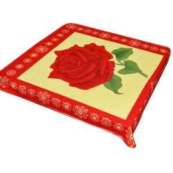Плед флісовий 103х114 см з червоною трояндою жовтий з червоною облямівкою