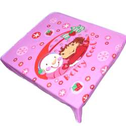Плед флісовий 110х115 см з дівчинкою і сніговиком рожевий