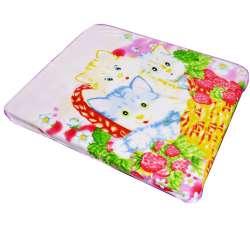 плед бледно-розовый с котятами в корзинке 120х106