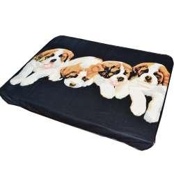 Плед флисовый 131х158 см с четырьмя щенками черный