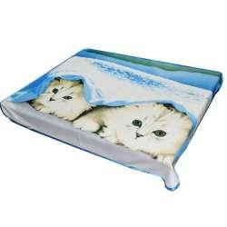 Плед флісовий 133х160 см з двома кошенятами блакитний