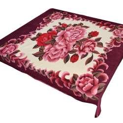 Плед флісовий 180х191 см з рожевими трояндами і баклажанові облямівкою бежевий