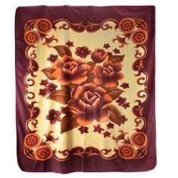 Плед флісовий 200х216 см з помаранчевими квітами і баклажанові облямівкою блідо-жовтий