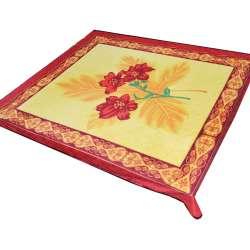 Плед флісовий 185х210 см з червоними ліліями жовтий з червоною облямівкою