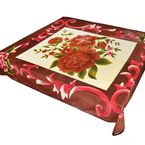 Плед флисовый 204х216 см с розами кремовый с коричневой каймой