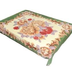 Плед флісовий 150х196 см з бежевими і бордовими трояндами і зеленою облямівкою бежевий