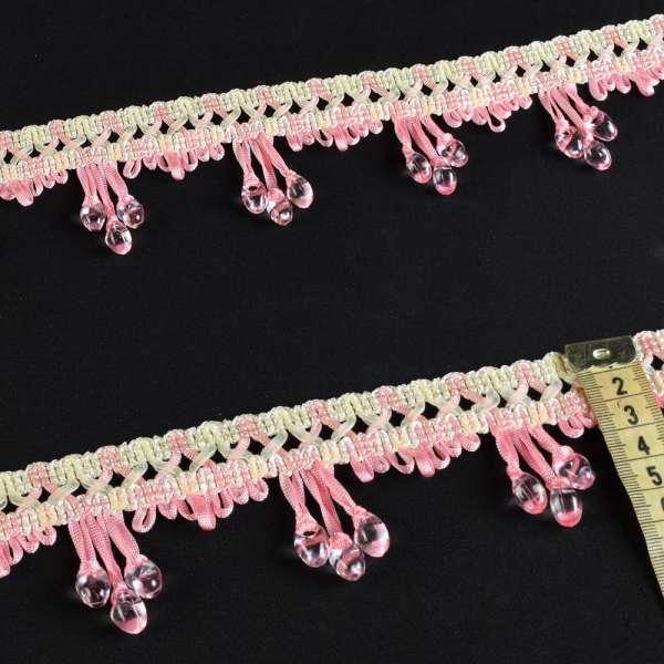бахрома стекл. розовая с бусами на атласной ленте