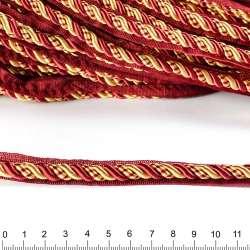 Кант-шнур бордовый/золото, диаметр 0,9см, тесьма 1,5см