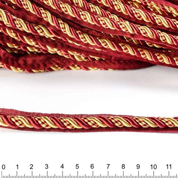 Кант-шнур вшивной 9мм тесьма 15мм бордовый/золотистый
