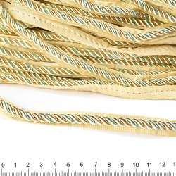 Кант-шнур оливковый/шампань, диаметр 0,9см, тесьма 1,5см