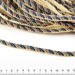 Кант-шнур синий/шампань, диаметр 0,9см, тесьма 1,5см