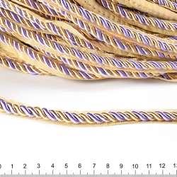 Кант-шнур сиреневый/шампань, диаметр 0,9см, тесьма 1,5см