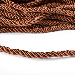 Шнур витой коричневый, диаметр 0,9см