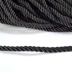 Шнур витой черный, диаметр 0,9см