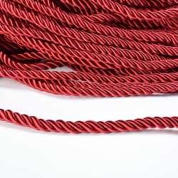 Шнур витой бордовый, диаметр 0,9см