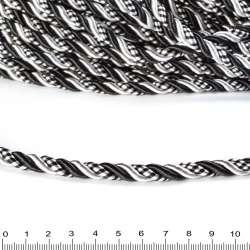 Шнур витой черный/белый, диаметр 0,9см