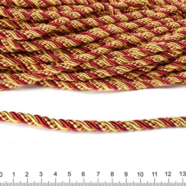 Шнур витой 9мм бордово-золотистый