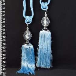 Китиця (пара) блакитна, довжина 65см, китиця 20см, куля 5см