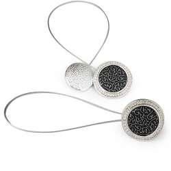 Подхват магнитный для штор круг черный серебро