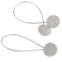 Підхват магнітний для штор коло зі шнуром сіро-молочний строкатий